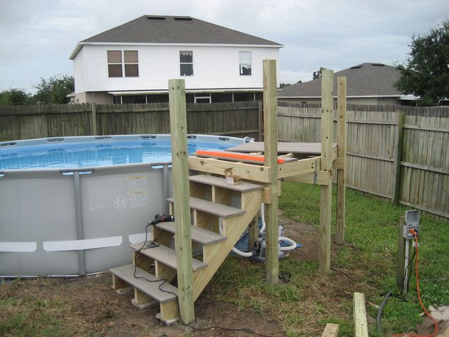thread my intex 16x48 with custom deck and stairs - Above Ground Pool Steps Wood