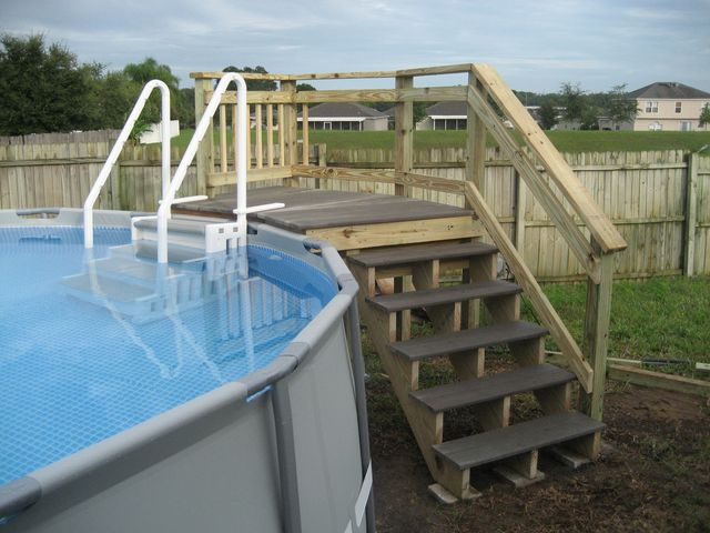 my intex 16x48 with custom deck and stairs - Intex Above Ground Pool Decks
